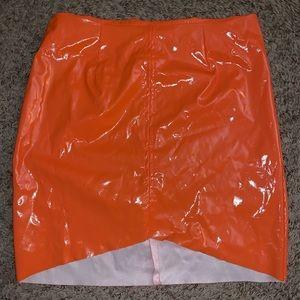 PrettyLittleThing Skirts - Orange PVC Skirt